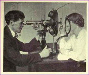 Dr. Bates inspecting Emily Lierman, Bates eyes. His wife, assistant in his Clinic, New York City.