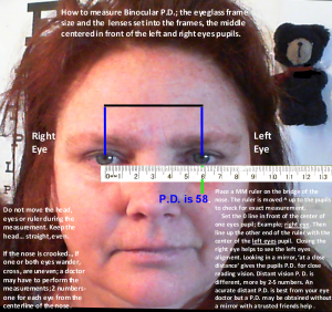 P.D. Measurement for ordering at Zenni-Optical.